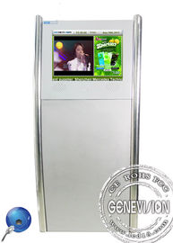 19inch Silver Floorstanding Slim Digital Kiosk Capacitive Touch Screen with Front Speaker
