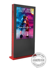 China Red Colour Waterproof Outdoor Digital Signage Kiosk Display 55 Inch AR Anti Glare Glass factory